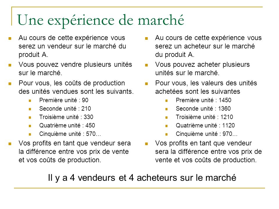 Une expérience de marché Au cours de cette expérience vous serez un vendeur sur le marché du produit A. Vous pouvez vendre plusieurs unités sur le mar