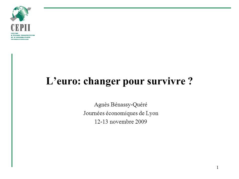 1 Leuro: changer pour survivre ? Agnès Bénassy-Quéré Journées économiques de Lyon 12-13 novembre 2009
