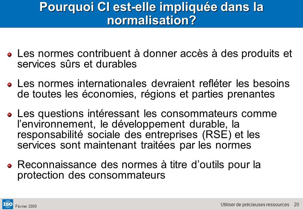 20Utiliser de précieuses ressources Février 2009 Pourquoi CI est-elle impliquée dans la normalisation? Les normes contribuent à donner accès à des pro