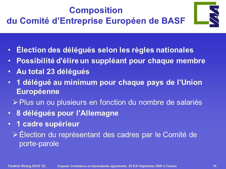 10 Composition du Comité dEntreprise Européen de BASF Élection des délégués selon les règles nationales Possibilité d'élire un suppléant pour chaque m