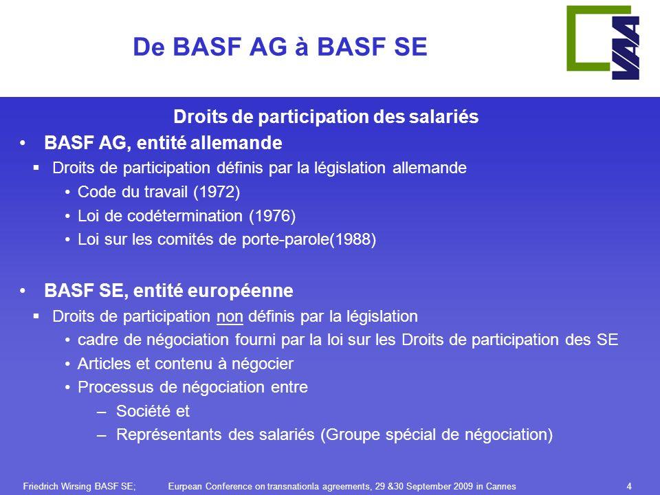 Friedrich Wirsing BASF SE; Eurpean Conference on transnationla agreements, 29 &30 September 2009 in Cannes4 De BASF AG à BASF SE Droits de participation des salariés BASF AG, entité allemande Droits de participation définis par la législation allemande Code du travail (1972) Loi de codétermination (1976) Loi sur les comités de porte-parole(1988) BASF SE, entité européenne Droits de participation non définis par la législation cadre de négociation fourni par la loi sur les Droits de participation des SE Articles et contenu à négocier Processus de négociation entre –Société et –Représentants des salariés (Groupe spécial de négociation)