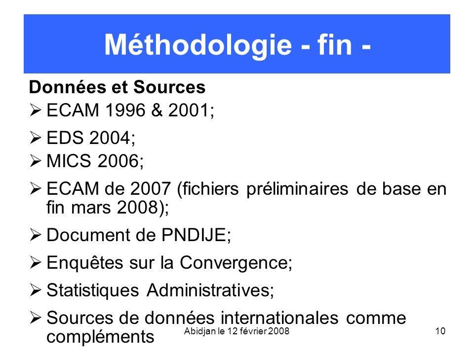 Abidjan le 12 février 200810 Méthodologie - fin - Données et Sources ECAM 1996 & 2001; EDS 2004; MICS 2006; ECAM de 2007 (fichiers préliminaires de ba