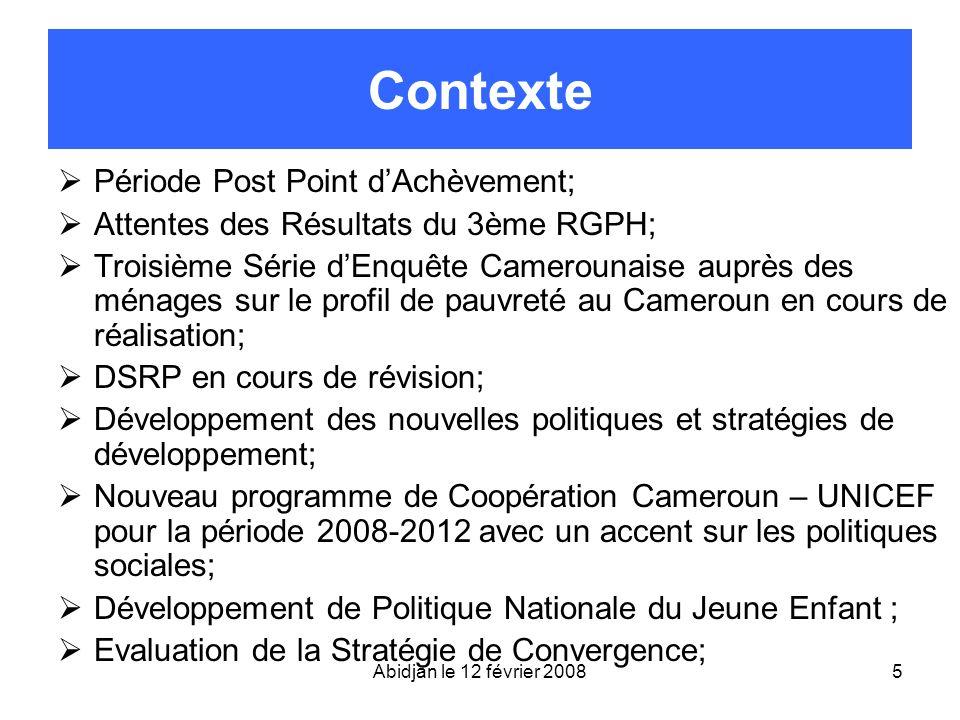 5 Contexte Période Post Point dAchèvement; Attentes des Résultats du 3ème RGPH; Troisième Série dEnquête Camerounaise auprès des ménages sur le profil