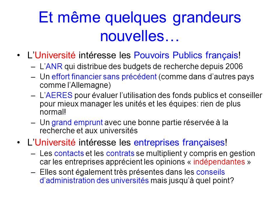 Et même quelques grandeurs nouvelles… LUniversité intéresse les Pouvoirs Publics français! –LANR qui distribue des budgets de recherche depuis 2006 –U