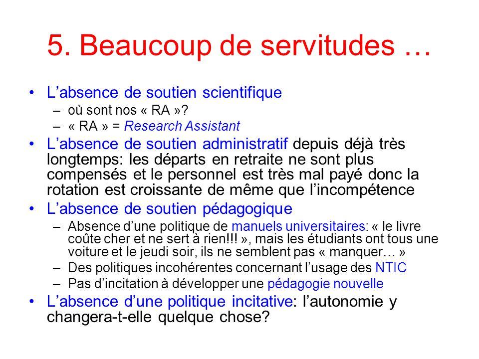 5. Beaucoup de servitudes … Labsence de soutien scientifique –où sont nos « RA »? –« RA » = Research Assistant Labsence de soutien administratif depui