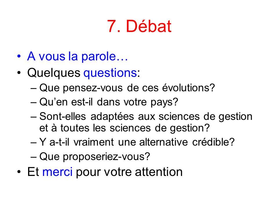 7. Débat A vous la parole… Quelques questions: –Que pensez-vous de ces évolutions? –Quen est-il dans votre pays? –Sont-elles adaptées aux sciences de
