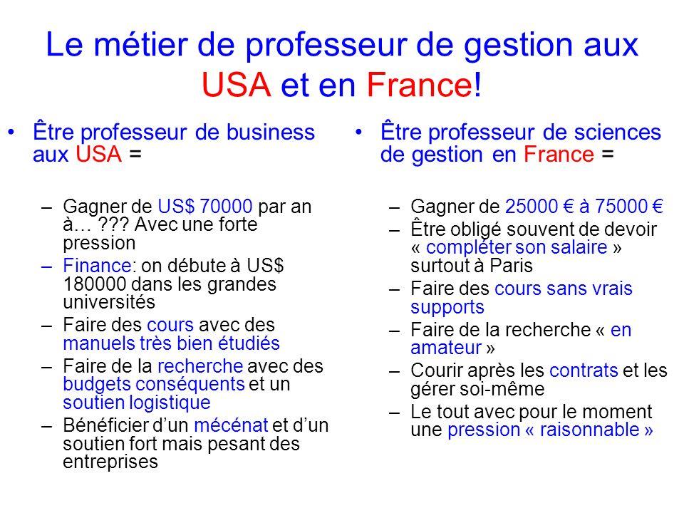 Le métier de professeur de gestion aux USA et en France! Être professeur de business aux USA = –Gagner de US$ 70000 par an à… ??? Avec une forte press