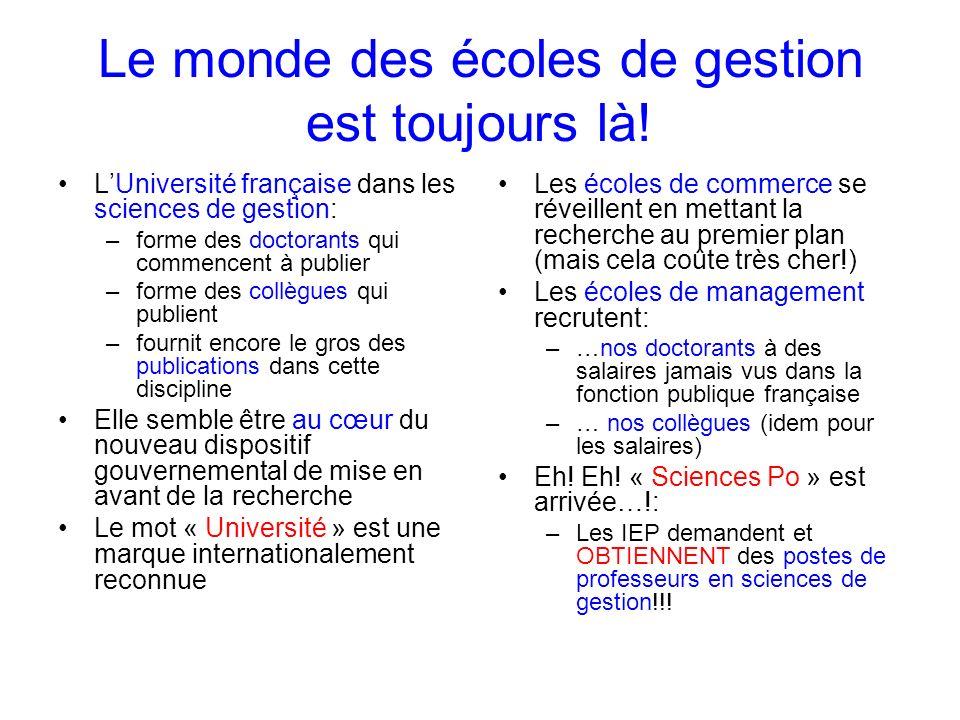 Le monde des écoles de gestion est toujours là! LUniversité française dans les sciences de gestion: –forme des doctorants qui commencent à publier –fo