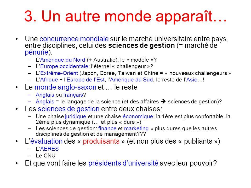 3. Un autre monde apparaît… Une concurrence mondiale sur le marché universitaire entre pays, entre disciplines, celui des sciences de gestion (= march