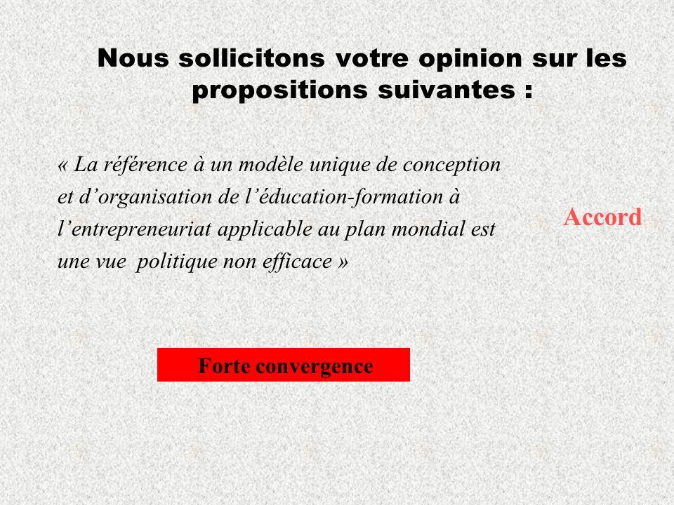 Nous sollicitons votre opinion sur les propositions suivantes : « La référence à un modèle unique de conception et dorganisation de léducation-formati