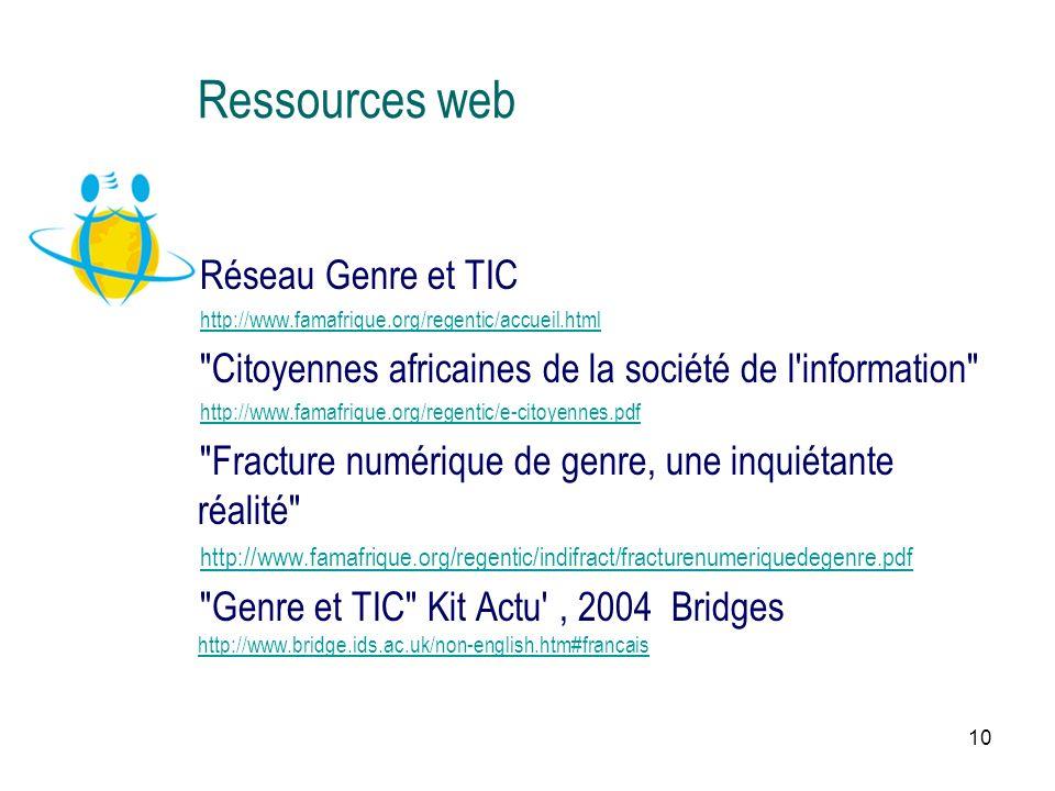 10 Ressources web Réseau Genre et TIC http://www.famafrique.org/regentic/accueil.html Citoyennes africaines de la société de l information http://www.famafrique.org/regentic/e-citoyennes.pdf Fracture numérique de genre, une inquiétante réalité http://www.famafrique.org/regentic/indifract/fracturenumeriquedegenre.pdf Genre et TIC Kit Actu , 2004 Bridges http://www.bridge.ids.ac.uk/non-english.htm#francais http://www.bridge.ids.ac.uk/non-english.htm#francais