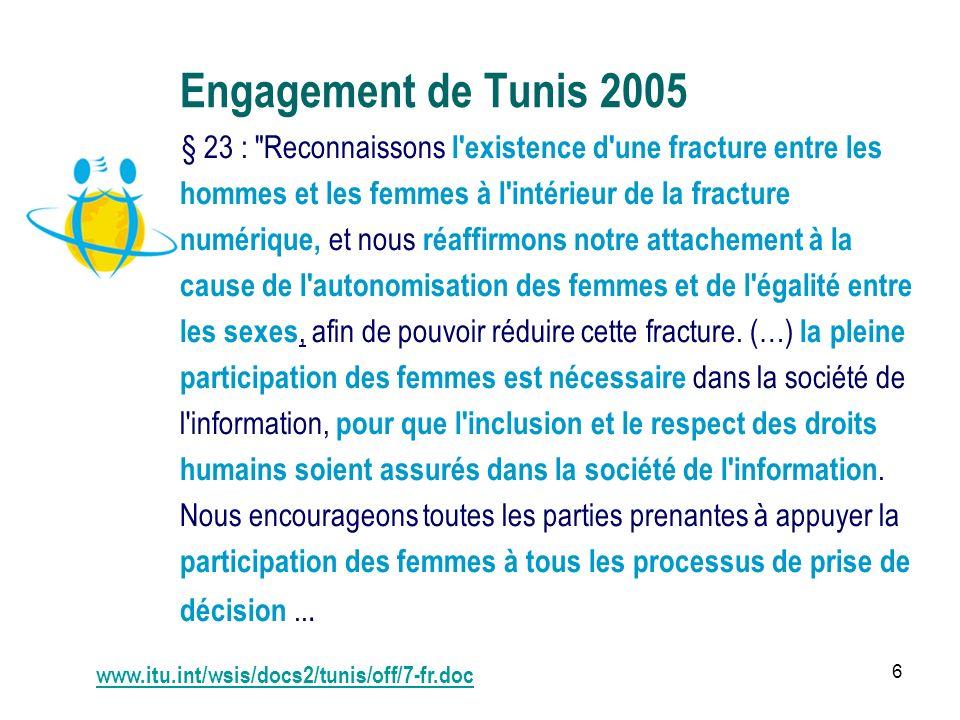 6 Engagement de Tunis 2005 § 23 :