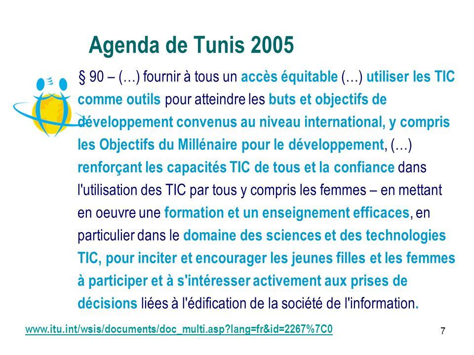 7 Agenda de Tunis 2005 § 90 – (…) fournir à tous un accès équitable (…) utiliser les TIC comme outils pour atteindre les buts et objectifs de développement convenus au niveau international, y compris les Objectifs du Millénaire pour le développement, (…) renforçant les capacités TIC de tous et la confiance dans l utilisation des TIC par tous y compris les femmes – en mettant en oeuvre une formation et un enseignement efficaces, en particulier dans le domaine des sciences et des technologies TIC, pour inciter et encourager les jeunes filles et les femmes à participer et à s intéresser activement aux prises de décisions liées à l édification de la société de l information.