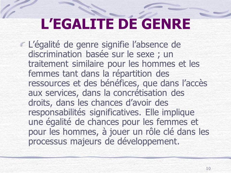 10 LEGALITE DE GENRE Légalité de genre signifie labsence de discrimination basée sur le sexe ; un traitement similaire pour les hommes et les femmes t