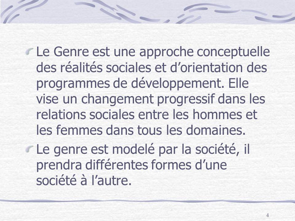 4 Le Genre est une approche conceptuelle des réalités sociales et dorientation des programmes de développement. Elle vise un changement progressif dan