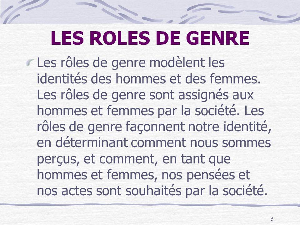 6 LES ROLES DE GENRE Les rôles de genre modèlent les identités des hommes et des femmes. Les rôles de genre sont assignés aux hommes et femmes par la