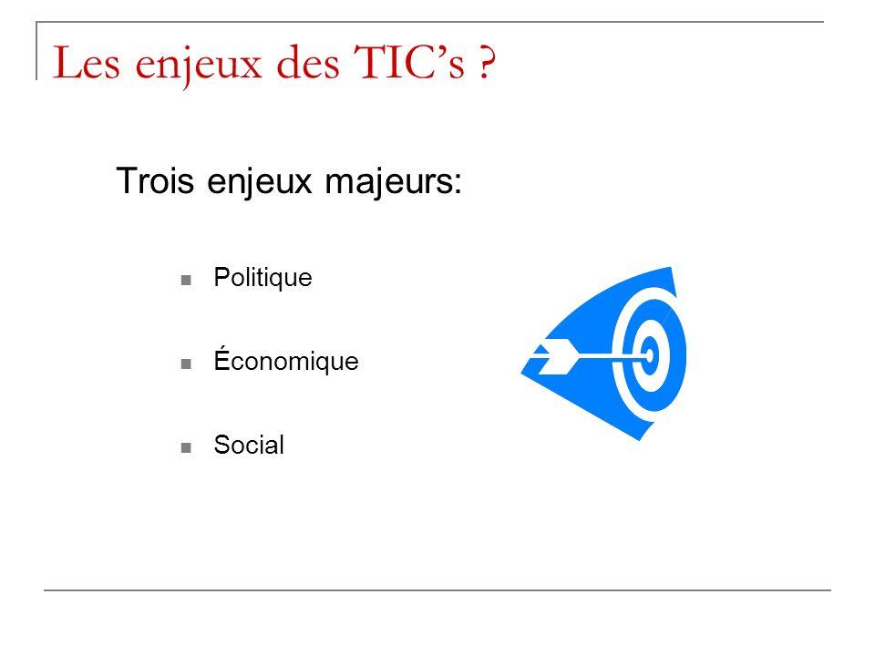 Les enjeux des TICs ? Trois enjeux majeurs: Politique Économique Social
