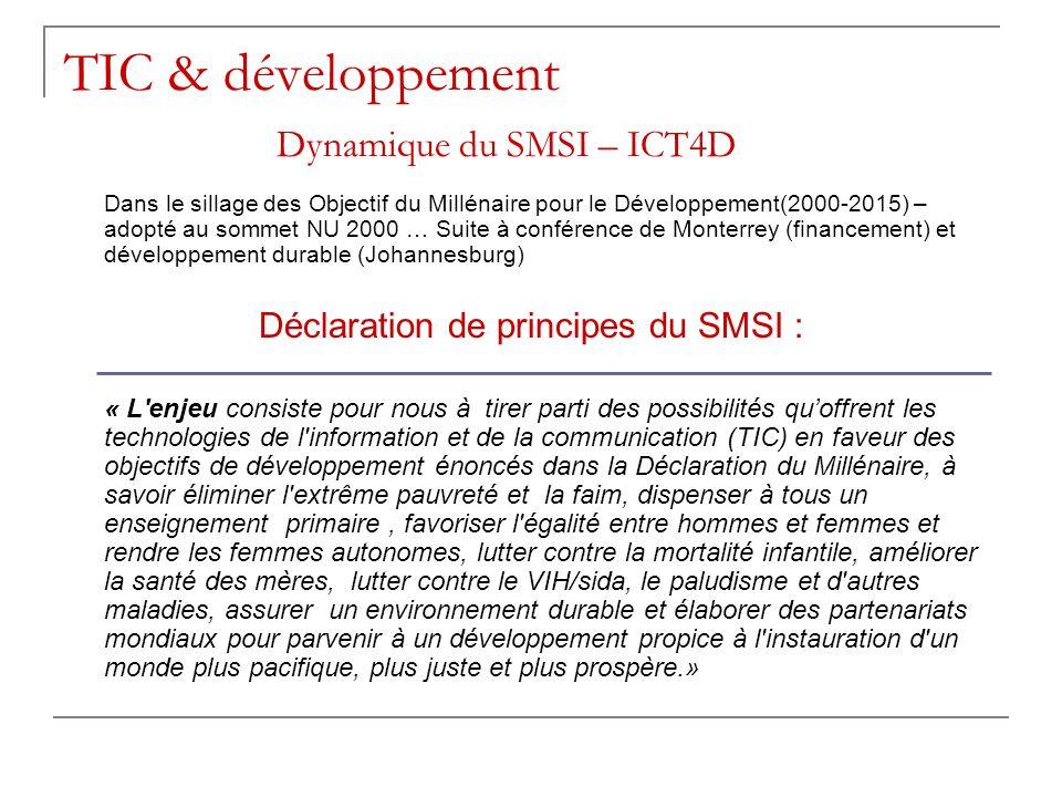 TIC & développement Dynamique du SMSI – ICT4D Dans le sillage des Objectif du Millénaire pour le Développement(2000-2015) – adopté au sommet NU 2000 …