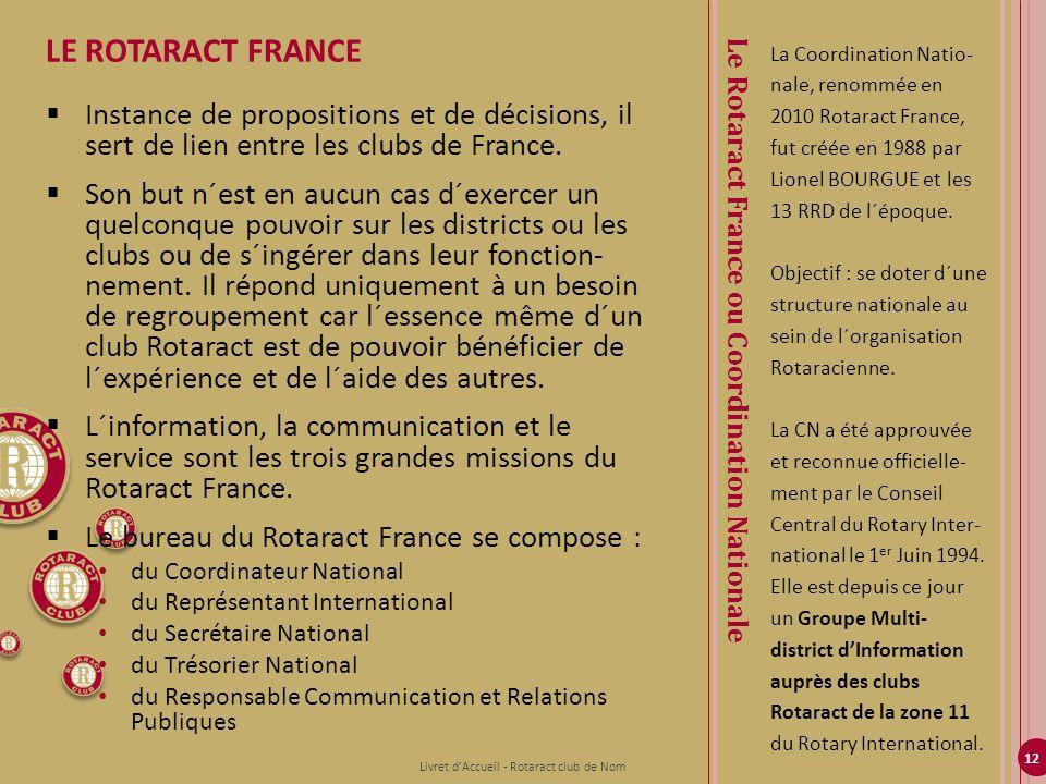 12 La Coordination Natio- nale, renommée en 2010 Rotaract France, fut créée en 1988 par Lionel BOURGUE et les 13 RRD de l´époque. Objectif : se doter