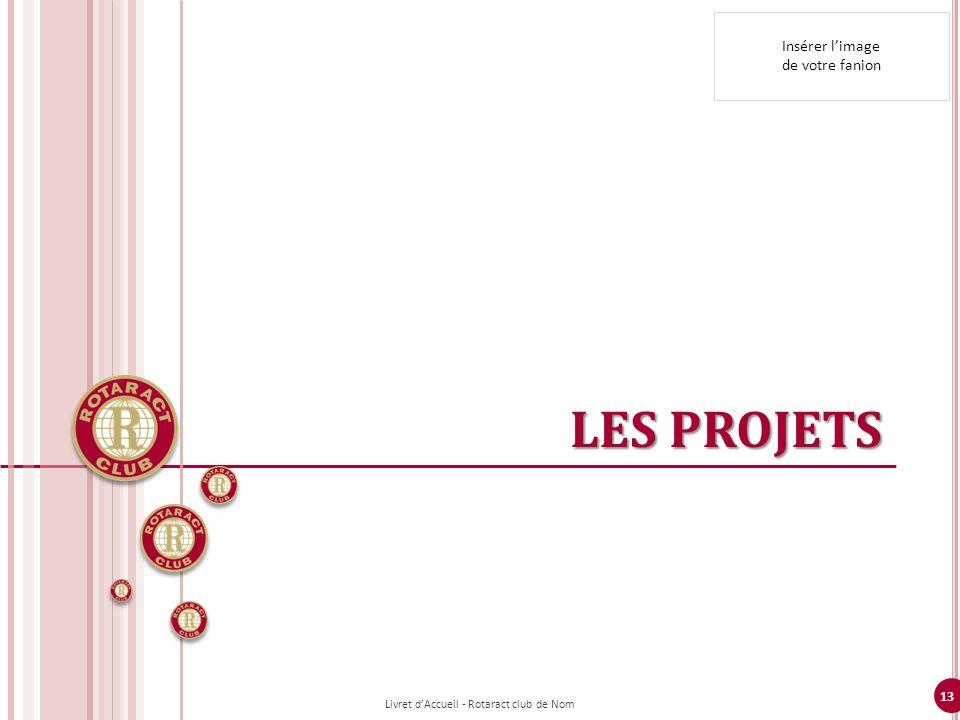 13 LES PROJETS Livret dAccueil - Rotaract club de Nom Insérer limage de votre fanion