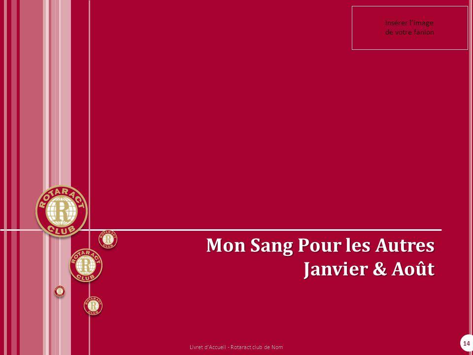 14 Mon Sang Pour les Autres Janvier & Août Insérer limage de votre fanion Livret dAccueil - Rotaract club de Nom