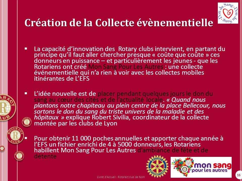 16 Création de la Collecte évènementielle La capacité dinnovation des Rotary clubs intervient, en partant du principe quil faut aller chercher presque