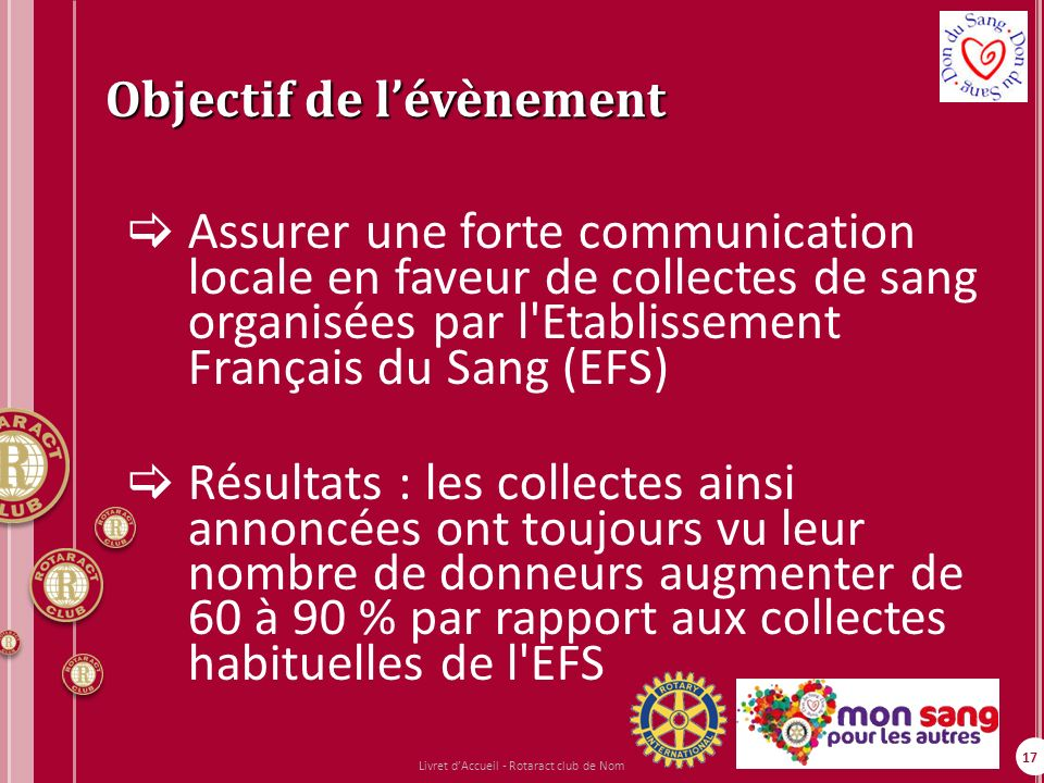 17 Objectif de lévènement Assurer une forte communication locale en faveur de collectes de sang organisées par l'Etablissement Français du Sang (EFS)
