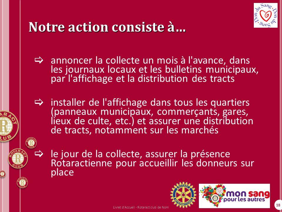 18 Notre action consiste à… annoncer la collecte un mois à l'avance, dans les journaux locaux et les bulletins municipaux, par l'affichage et la distr
