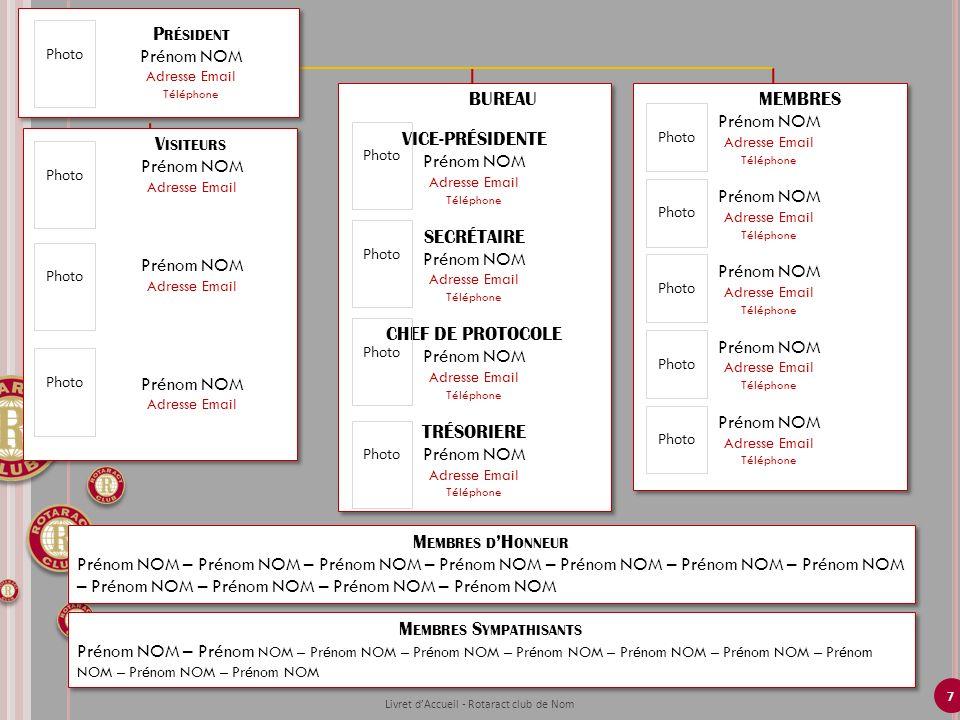 7 BUREAU VICE-PRÉSIDENTE Prénom NOM Adresse Email Téléphone SECRÉTAIRE Prénom NOM Adresse Email Téléphone CHEF DE PROTOCOLE Prénom NOM Adresse Email T