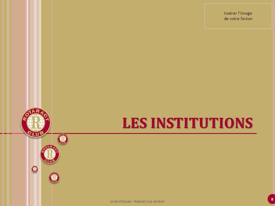 8 LES INSTITUTIONS Livret dAccueil - Rotaract club de Nom Insérer limage de votre fanion