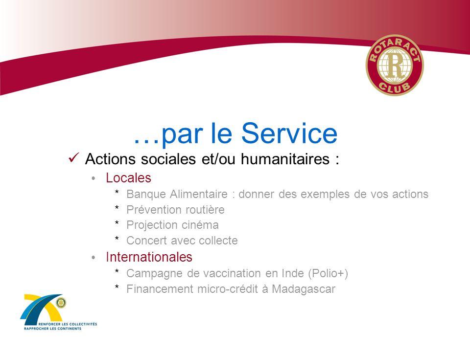 …par le Service Actions de camaraderie : Echanges et Rassemblements entre Rotaractiens Jumelage entre clubs Développement de la compréhension internationale et de lentente entre les peuples