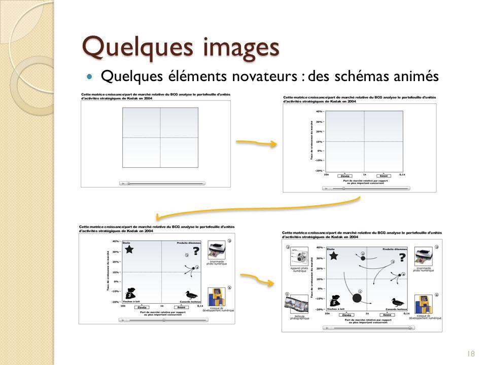 Quelques images 18 Quelques éléments novateurs : des schémas animés