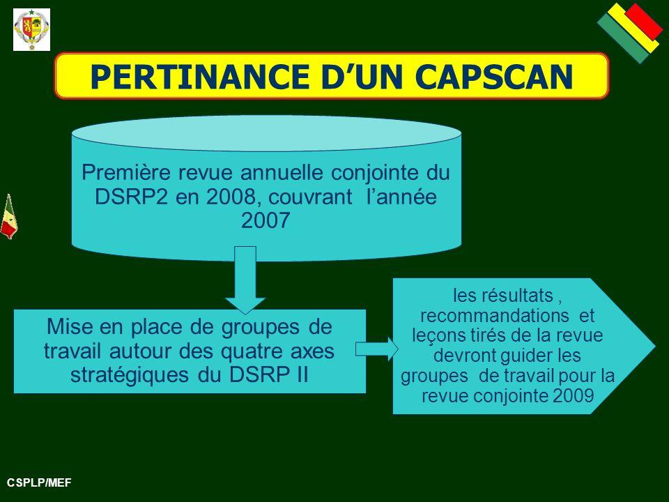 CSPLP/MEF PERTINANCE DUN CAPSCAN Mise en place de groupes de travail autour des quatre axes stratégiques du DSRP II Première revue annuelle conjointe du DSRP2 en 2008, couvrant lannée 2007 les résultats, recommandations et leçons tirés de la revue devront guider les groupes de travail pour la revue conjointe 2009