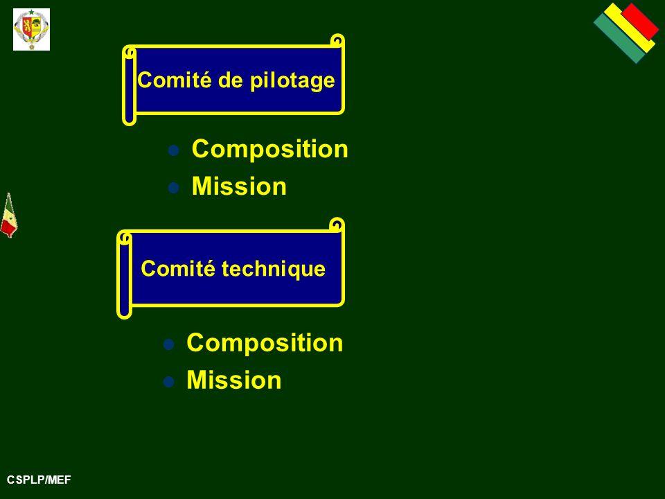 CSPLP/MEF Composition Mission Composition Mission Comité de pilotage Comité technique