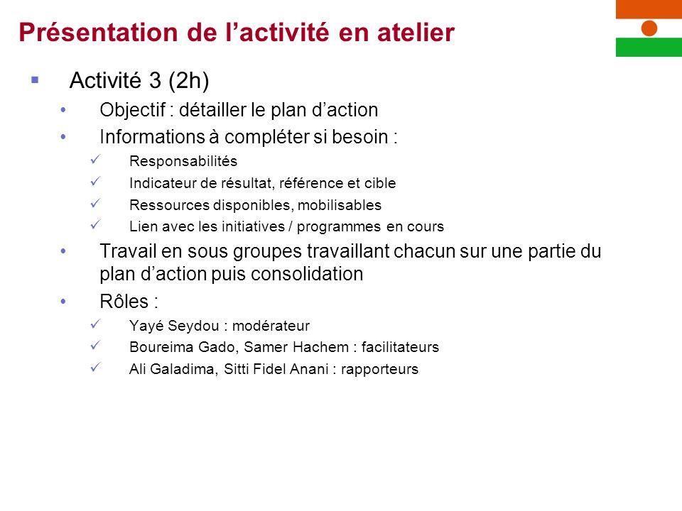 Activité 3 (2h) Objectif : détailler le plan daction Informations à compléter si besoin : Responsabilités Indicateur de résultat, référence et cible R