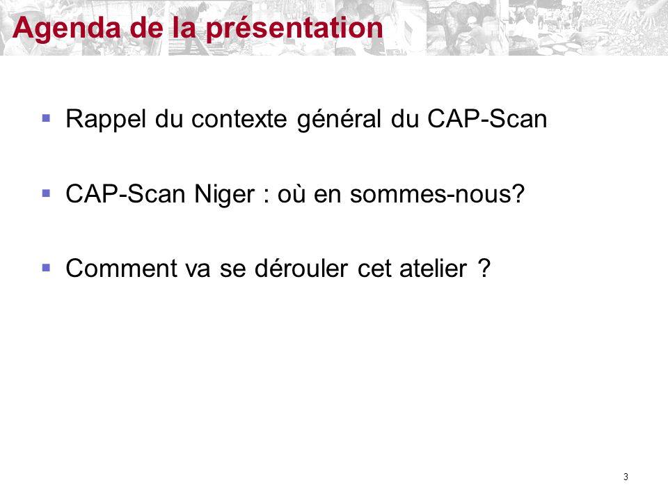 Rappel du contexte général du CAP-Scan CAP-Scan Niger : où en sommes-nous? Comment va se dérouler cet atelier ? Agenda de la présentation 3