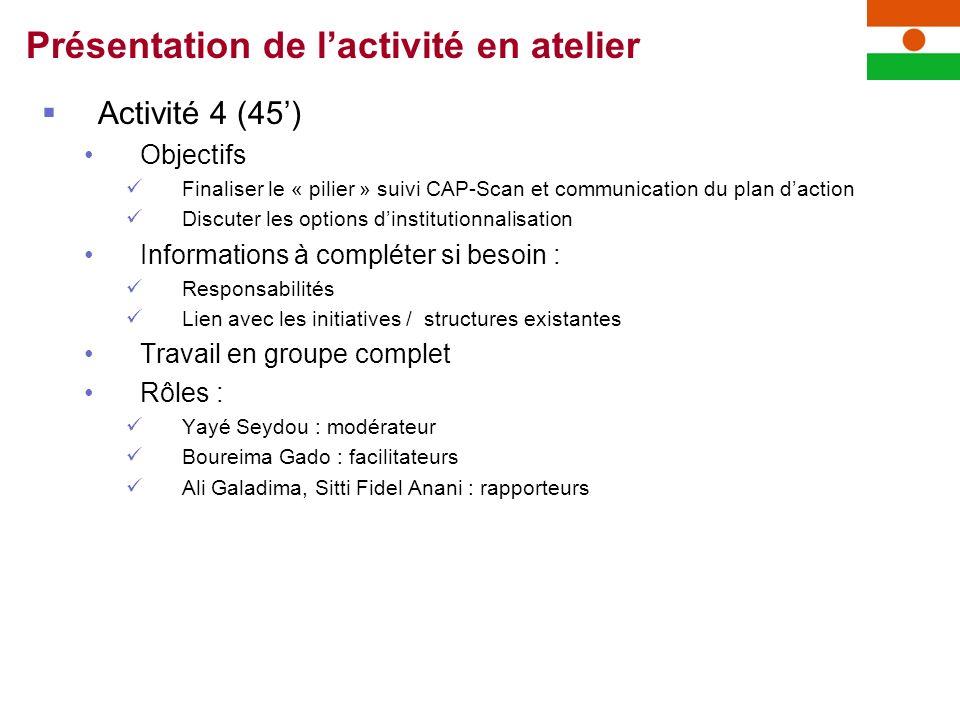 Activité 4 (45) Objectifs Finaliser le « pilier » suivi CAP-Scan et communication du plan daction Discuter les options dinstitutionnalisation Informat