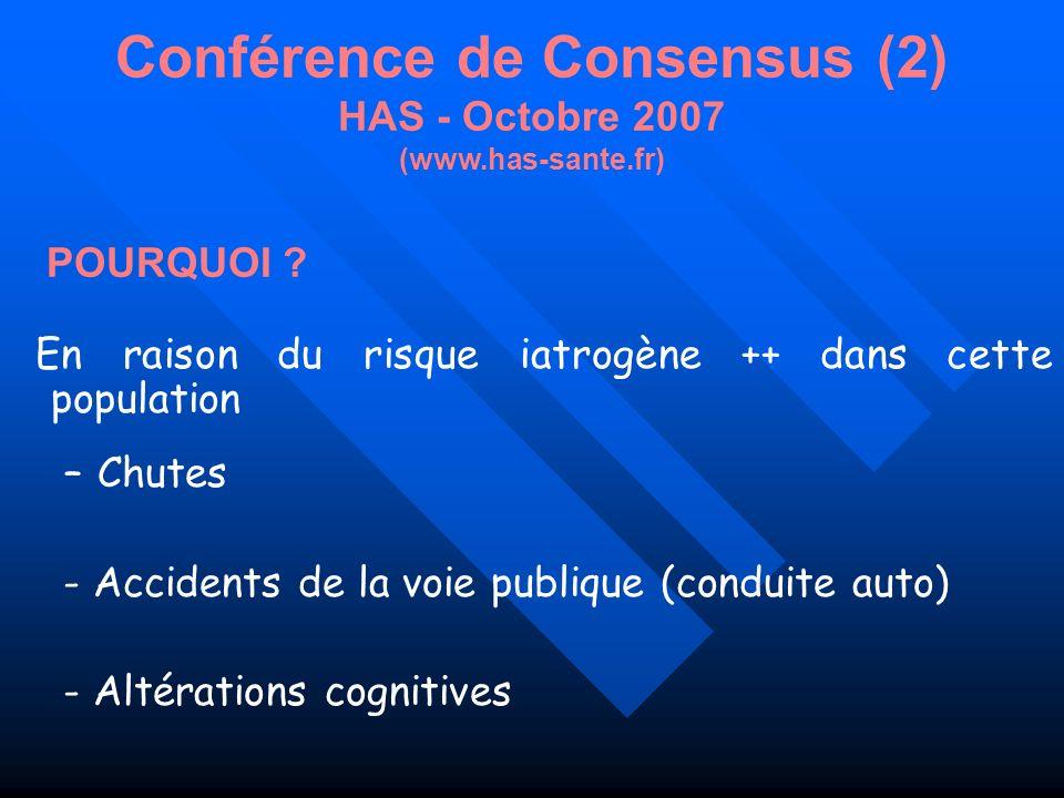 Conférence de Consensus (2) HAS - Octobre 2007 (www.has-sante.fr) En raison du risque iatrogène ++ dans cette population –Chutes - Accidents de la voi