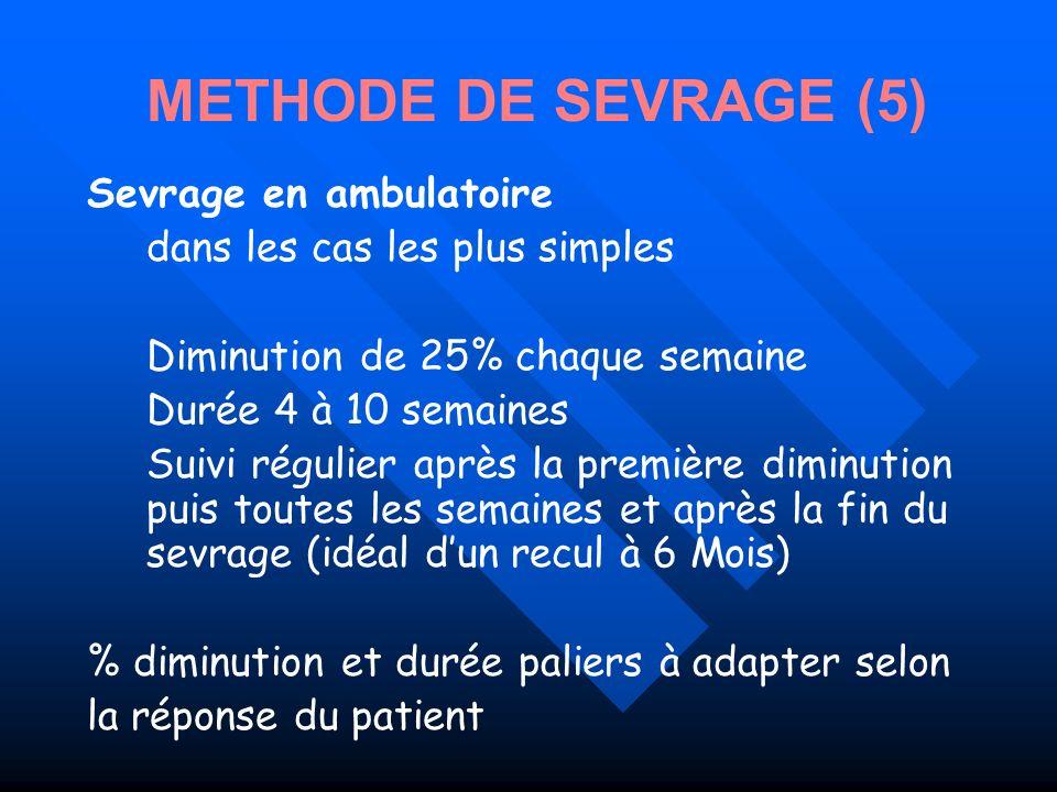 Sevrage en ambulatoire dans les cas les plus simples Diminution de 25% chaque semaine Durée 4 à 10 semaines Suivi régulier après la première diminutio