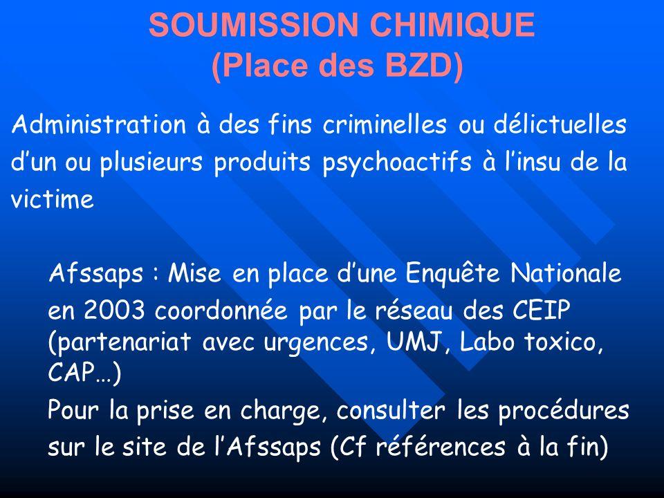 SOUMISSION CHIMIQUE (Place des BZD) Administration à des fins criminelles ou délictuelles dun ou plusieurs produits psychoactifs à linsu de la victime