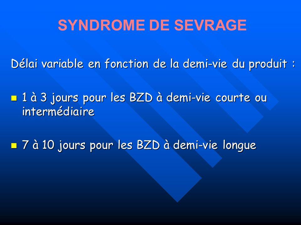 Délai variable en fonction de la demi-vie du produit : 1 à 3 jours pour les BZD à demi-vie courte ou intermédiaire 1 à 3 jours pour les BZD à demi-vie