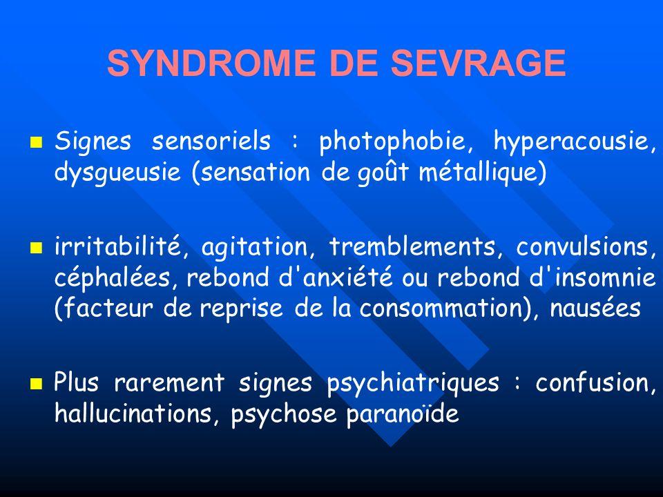 Signes sensoriels : photophobie, hyperacousie, dysgueusie (sensation de goût métallique) irritabilité, agitation, tremblements, convulsions, céphalées