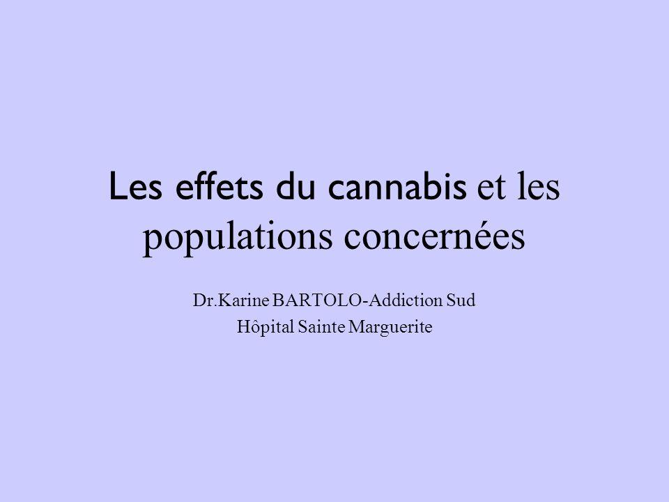 Les effets du cannabis et les populations concernées Dr.Karine BARTOLO-Addiction Sud Hôpital Sainte Marguerite