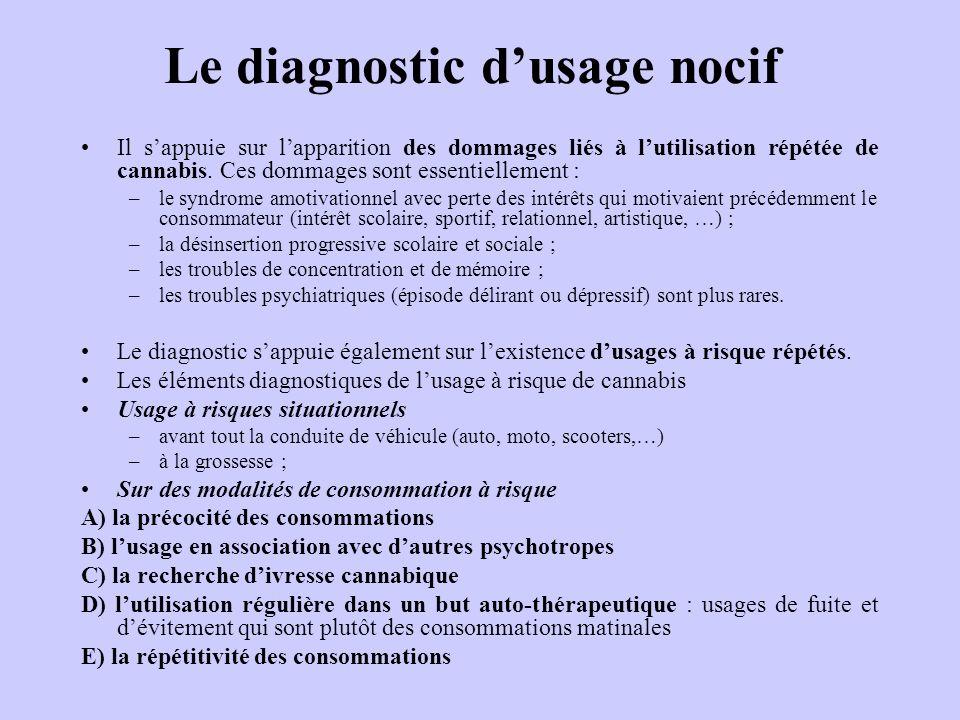 Le diagnostic dusage nocif Il sappuie sur lapparition des dommages liés à lutilisation répétée de cannabis. Ces dommages sont essentiellement : –le sy