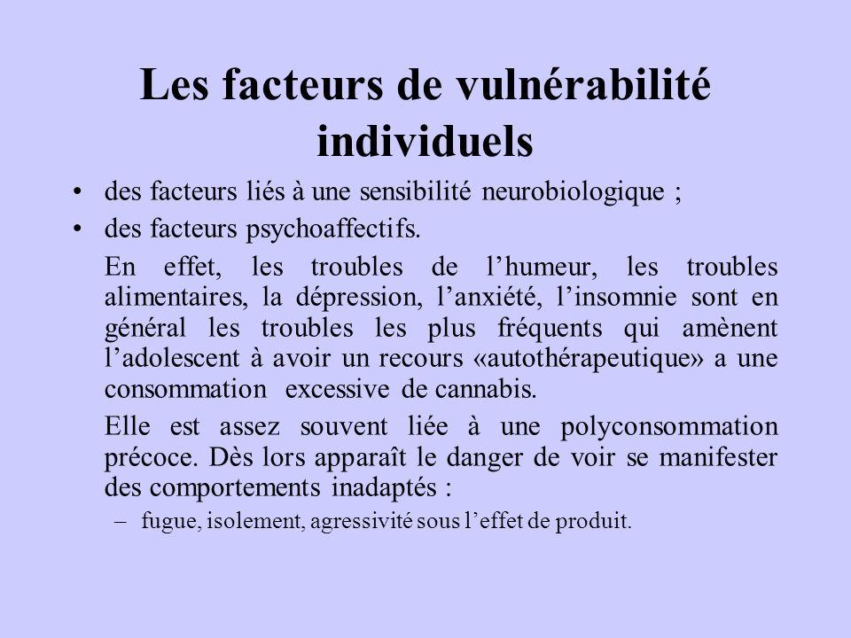 Les facteurs de vulnérabilité individuels des facteurs liés à une sensibilité neurobiologique ; des facteurs psychoaffectifs. En effet, les troubles d