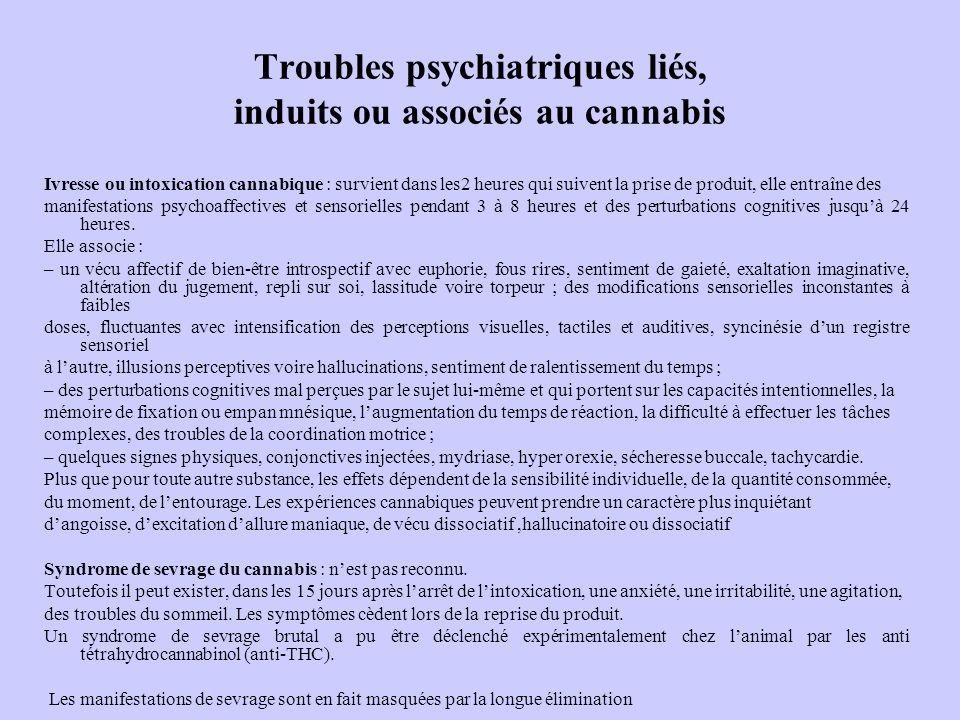 Troubles psychiatriques liés, induits ou associés au cannabis Ivresse ou intoxication cannabique : survient dans les2 heures qui suivent la prise de p