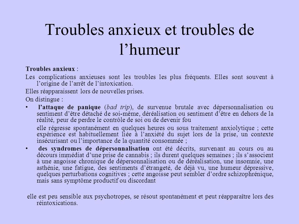 Troubles anxieux et troubles de lhumeur Troubles anxieux : Les complications anxieuses sont les troubles les plus fréquents. Elles sont souvent à lori