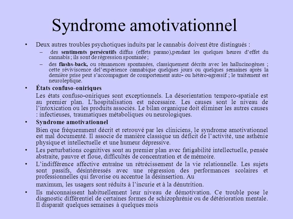 Syndrome amotivationnel Deux autres troubles psychotiques induits par le cannabis doivent être distingués : – des sentiments persécutifs diffus (effet