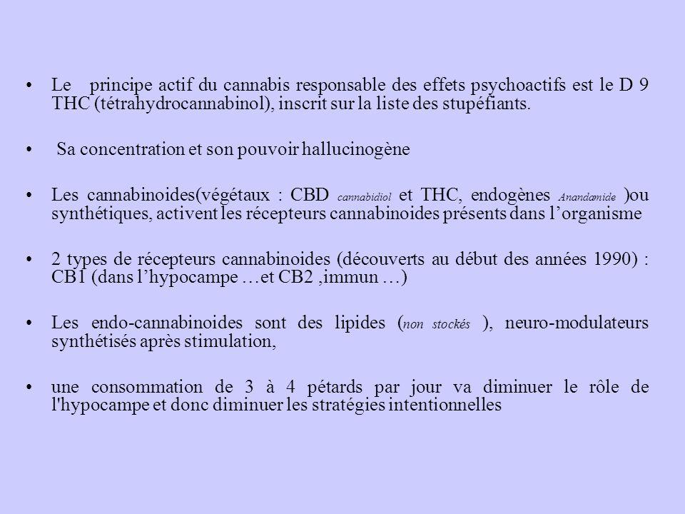 Le principe actif du cannabis responsable des effets psychoactifs est le D 9 THC (tétrahydrocannabinol), inscrit sur la liste des stupéfiants. Sa conc