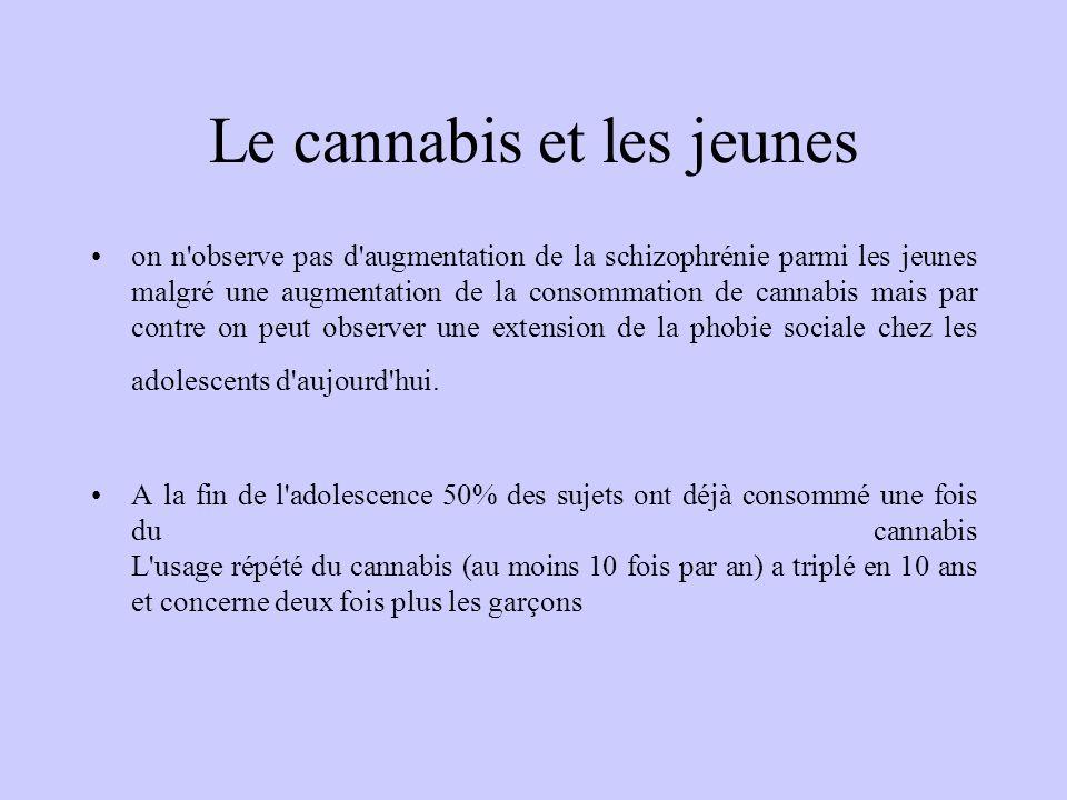 Le cannabis et les jeunes on n'observe pas d'augmentation de la schizophrénie parmi les jeunes malgré une augmentation de la consommation de cannabis